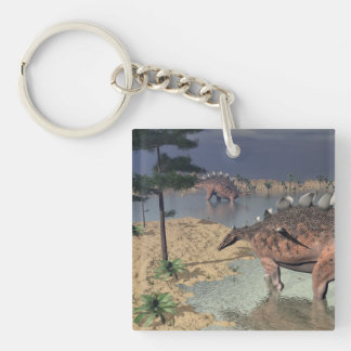 Kentrosaurus dinosaurs in the desert - 3D render Double-Sided Square Acrylic Keychain