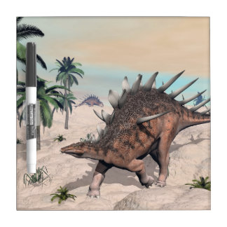 Kentrosaurus dinosaurs in the desert - 3D render Dry Erase Board
