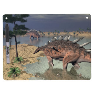 Kentrosaurus dinosaurs in the desert - 3D render Dry-Erase Board