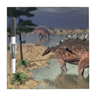 Kentrosaurus dinosaurs in the desert - 3D render Dry Erase Whiteboard
