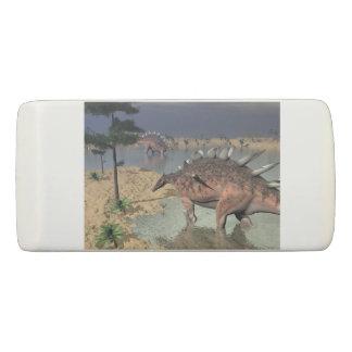 Kentrosaurus dinosaurs in the desert - 3D render Eraser