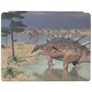 Kentrosaurus dinosaurs in the desert - 3D render iPad Cover