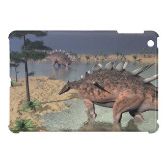 Kentrosaurus dinosaurs in the desert - 3D render iPad Mini Case