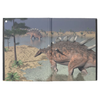 "Kentrosaurus dinosaurs in the desert - 3D render iPad Pro 12.9"" Case"