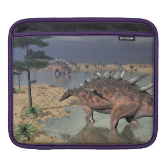 Kentrosaurus dinosaurs in the desert - 3D render iPad Sleeve
