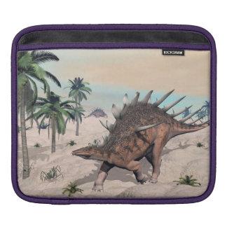 Kentrosaurus dinosaurs in the desert - 3D render iPad Sleeve