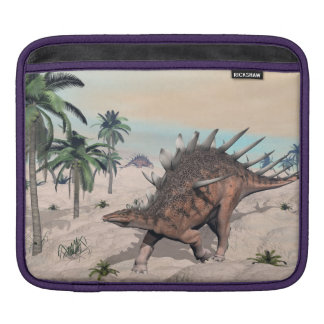 Kentrosaurus dinosaurs in the desert - 3D render iPad Sleeves