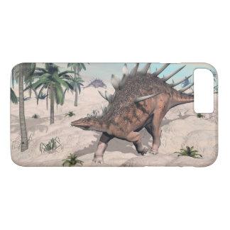 Kentrosaurus dinosaurs in the desert - 3D render iPhone 8 Plus/7 Plus Case
