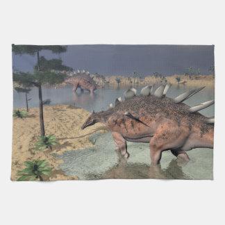 Kentrosaurus dinosaurs in the desert - 3D render Kitchen Towel