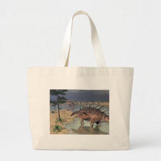 Kentrosaurus dinosaurs in the desert - 3D render Large Tote Bag