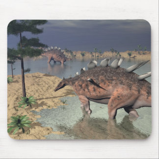 Kentrosaurus dinosaurs in the desert - 3D render Mouse Pad