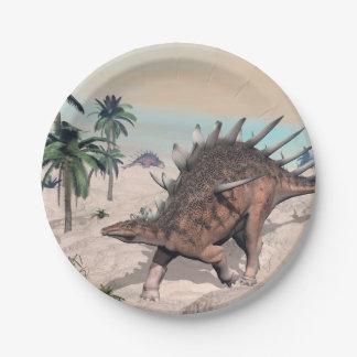 Kentrosaurus dinosaurs in the desert - 3D render Paper Plate