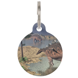 Kentrosaurus dinosaurs in the desert - 3D render Pet ID Tag