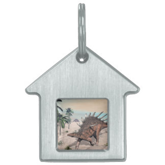 Kentrosaurus dinosaurs in the desert - 3D render Pet Name Tag