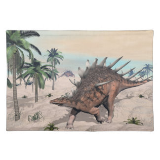 Kentrosaurus dinosaurs in the desert - 3D render Placemat