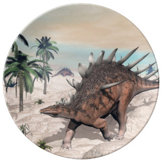 Kentrosaurus dinosaurs in the desert - 3D render Porcelain Plate