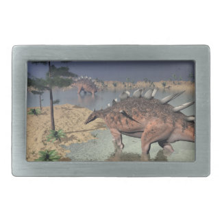 Kentrosaurus dinosaurs in the desert - 3D render Rectangular Belt Buckles