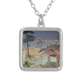 Kentrosaurus dinosaurs in the desert - 3D render Silver Plated Necklace