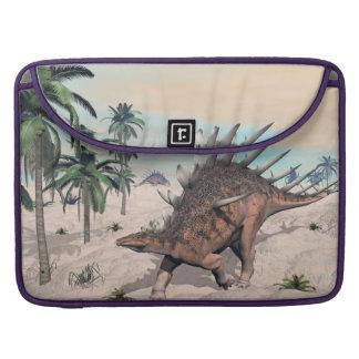 Kentrosaurus dinosaurs in the desert - 3D render Sleeve For MacBooks