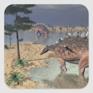 Kentrosaurus dinosaurs in the desert - 3D render Square Sticker