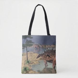 Kentrosaurus dinosaurs in the desert - 3D render Tote Bag