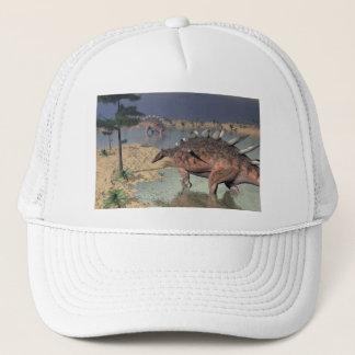 Kentrosaurus dinosaurs in the desert - 3D render Trucker Hat