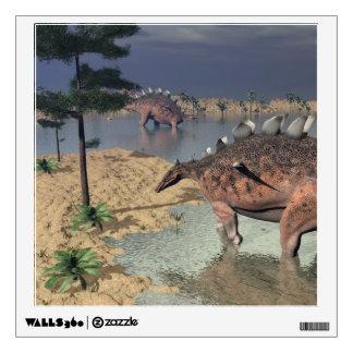 Kentrosaurus dinosaurs in the desert - 3D render Wall Decal