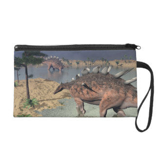 Kentrosaurus dinosaurs in the desert - 3D render Wristlet