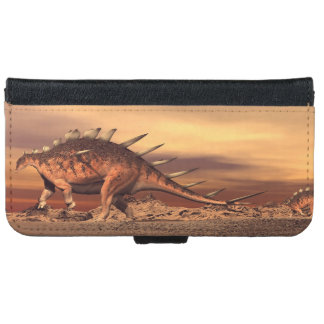 Kentrosaurus dinosaurs mum and baby - 3D render iPhone 6 Wallet Case