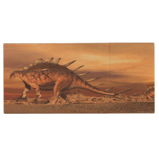 Kentrosaurus dinosaurs mum and baby - 3D render Wood USB Flash Drive