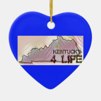 """Kentucky 4 Life"" State Map Pride Design Ceramic Ornament"