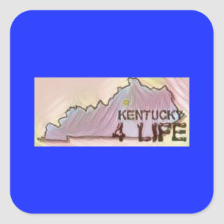 """Kentucky 4 Life"" State Map Pride Design Square Sticker"