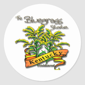 Kentucky Bluegrass State Goldenrod Classic Round Sticker