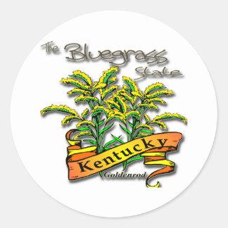 Kentucky Bluegrass State Goldenrod Round Sticker