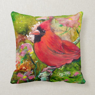 Kentucky Cardinal in the Spring by Design GG Burns Throw Pillow