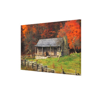 Kentucky Country Cabin Fall Season Watercolor Art Canvas Print