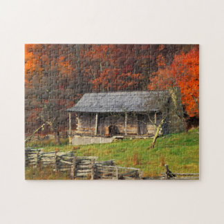 Kentucky Country Cabin Fall Season Watercolor Art Jigsaw Puzzle