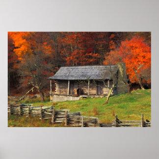 Kentucky Country Cabin Fall Season Watercolor Art Poster