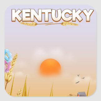 Kentucky Cute Farm travel poster Square Sticker