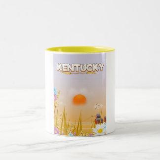 Kentucky Cute Farm travel poster Two-Tone Coffee Mug