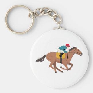 Kentucky Derby Horse Rider Basic Round Button Keychain