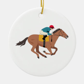 Kentucky Derby Horse Rider Ceramic Ornament