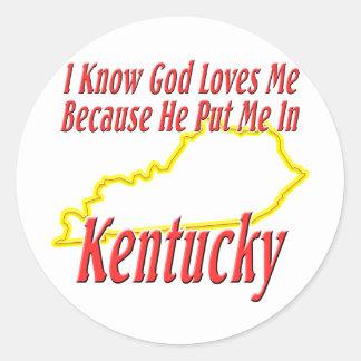 Kentucky - God Loves Me Classic Round Sticker