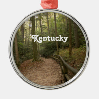 Kentucky Horse Trails Silver-Colored Round Ornament