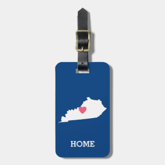 Kentucky Map Home State Love with Custom Heart Bag Tag
