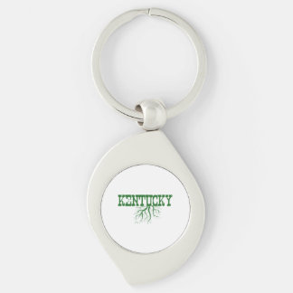 Kentucky Roots Silver-Colored Swirl Keychain