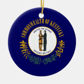 Kentucky State Flag Round Ceramic Ornament