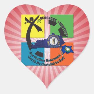 KENTUCKY STATE MOTTO GEOCACHER HEART STICKER