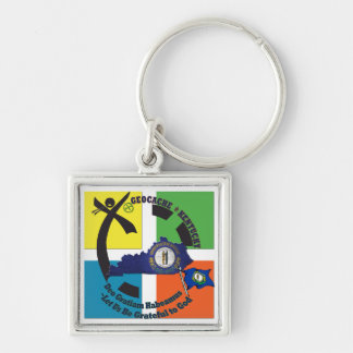 KENTUCKY STATE MOTTO GEOCACHER Silver-Colored SQUARE KEYCHAIN
