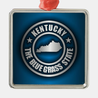 """Kentucky Steel (Blue)"" Silver-Colored Square Ornament"